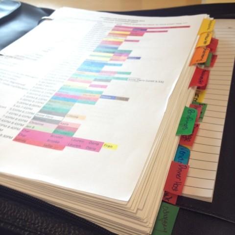 organized binder tabs