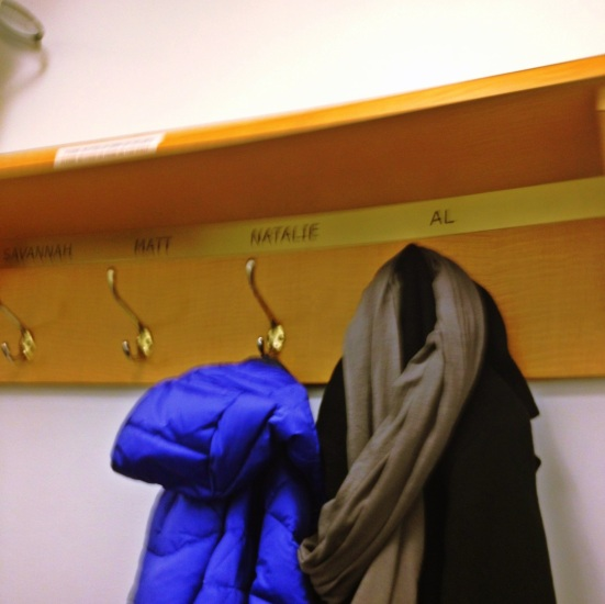 The best thing I saw... coat hooks for Al, Matt, Natalie and Savannah!